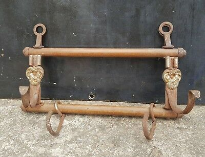 Antique Rare Original Victorian Unique Wooden & Iron Wall Hook Hanger