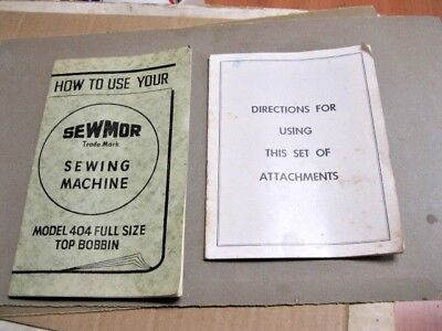 Vintage Sewmor Model 404 Sewing Machine MANUAL & ATTACHMENT USE MANUAL