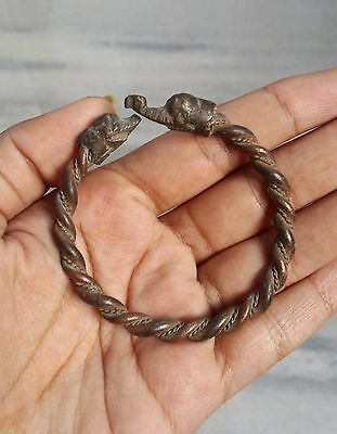 Vintage Beautiful Handmade Brass Tribal Bangle / Bracelet-Elephant On Both Ends