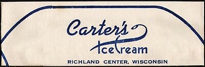 Vintage soda jerk hat CARTERS ICE CREAM Richland Center Wisconsin unused n-mint