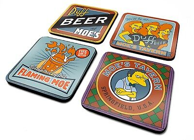 Official The Simpsons Moe's Tavern Coaster Set Novelty TV Gift Szyslak Duff Beer