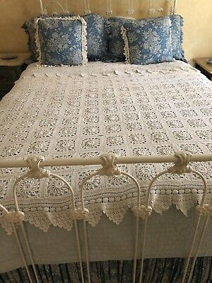"""Vintage Hand Crocheted White Cotton Bed Cover 81"""" x 75"""""""