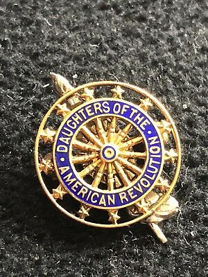 Antique 14k Gold DAR Daughter of the American Revolution Pin J.E. Caldwell