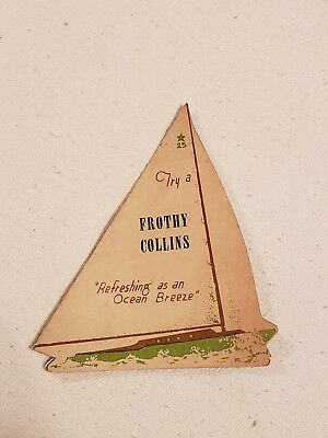 Rare Vintage Sailboat Placecard Try A Frothy Collins Limited Number (25) *look *