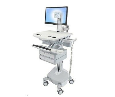 Ergotron Styleview Cart With LCD Pivot Life Powered 4 Drawers SV44-1342-1