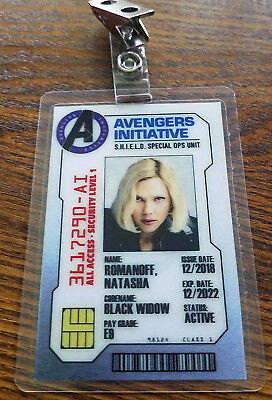 Avengers Infinity War ID Badge-Natasha Romanoff Black Widow costume cosplay