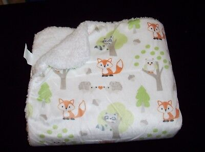 Blankets and & Beyond Forest Animals Baby Blanket Fox Raccoon Hedgehog Owl Trees