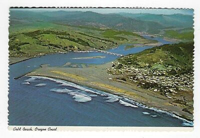 Gold Beach - Oregon Coast - Vintage 1950s UNPOSTED Color Postcard - Aerial Photo