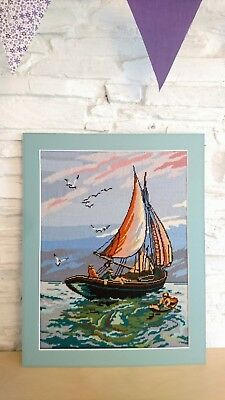 Completed Large Mounted Needlepoint Canvas Wall Tapestry Picture Sea Ocean Boat