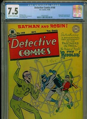 1948 Dc Detective Comics #140 1St Appearance & Origin The Riddler Cgc 7.5 Ow-W