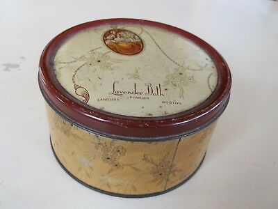 Vintage Retro Langlois Lavender Bath Powder Empty Tin