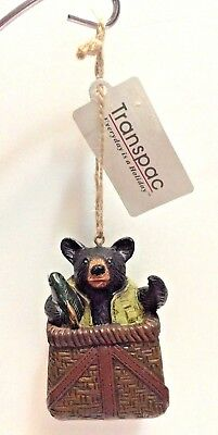 Transpac Black Bear Fishing Basket Unique Holiday Christmas Ornament New!!