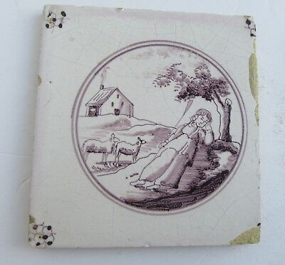 Antique Dutch Delft Tile Circa 1700 Manganese Shepherdess w Sheep