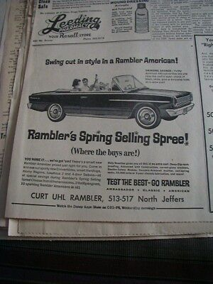 1964 AMC newspaper ad american 440 convertible local auto dealer ad