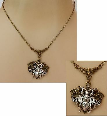 Bee Necklace Pendant Chain Gold  Jewelry Honey Bumble Bee Queen Fashion Silver
