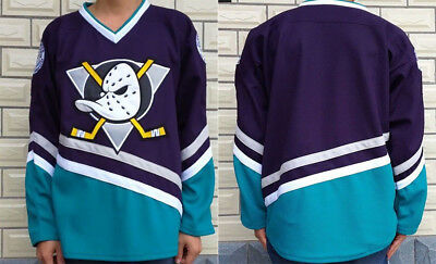 The Mighty Ducks Movie Custom No Name Jersey Hockey Stitched Sewn S-3XL  Purple 9f87bd4c6