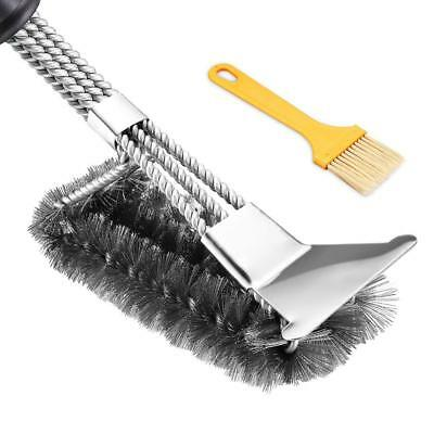 Grill Brush BBQ Brush with Scraper. Stainless Steel Brush Best 3in1Stainless Ste