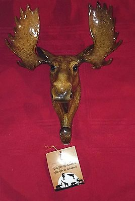 NEW 3D HAND PAINTED RESIN MOOSE HEAD with ANTLERS WALL HOOK OR DECOR RUSTIC