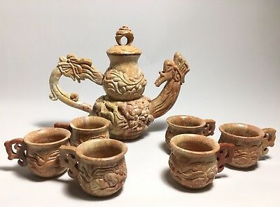 CARVED CHINESE SOAPSTONE ANCIENT DRAGON SAKE TEA Set Teapot With Cups