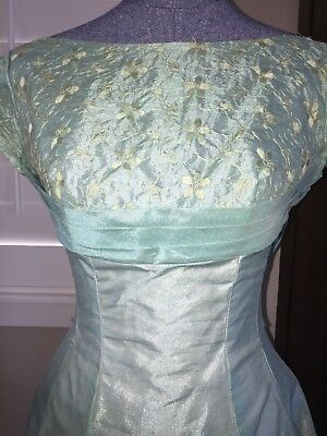 Vintage LORRIE DEB San Francisco c.1950's Boatneck Party Dress Mint Green Small