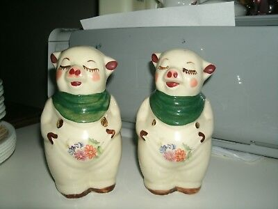 """Shawnee Pottery Smiley Pig 5"""" Salt and Pepper Shakers with gold trim and decals"""