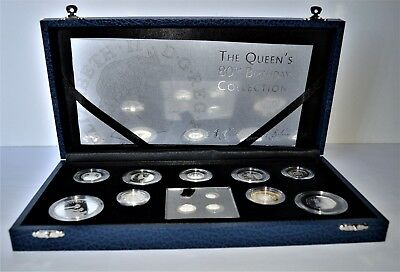 2006 Queens 80th Birthday Silver Proof 13 Coin Set Box with COA Sterling Silver.
