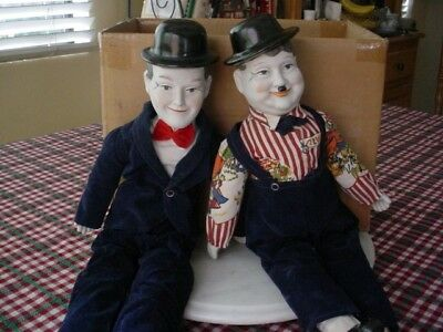 """Old Comic Pair - Laurel and Hardy Dolls 19.5""""-20.34"""" high-Stripe Shirt/bow tie"""