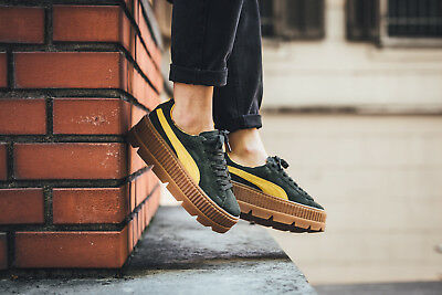 6fb1860c734 NEW PUMA FENTY RIHANNA Suede Cleated Creeper, Green-Lemon (366268-01 ...