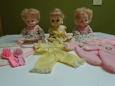 Vintage  Lot of 3 Playmates Small Dolls w/Clothes Made In Hong Kong