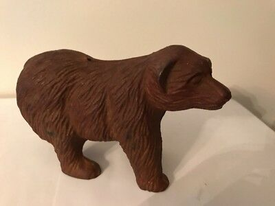 "Cast Iron Brown Bear Bank 6"" Long - 4"" High."