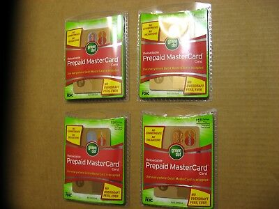 FOUR Green Dot Prepaid Debit MasterCards Reloadable NEW In Sealed Packs Empty