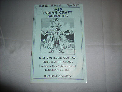 Vintage BSA Boy Scouts Cub Pack 1955 GREY OWL INDIAN CRAFT COMPANY SUPPLIES Book
