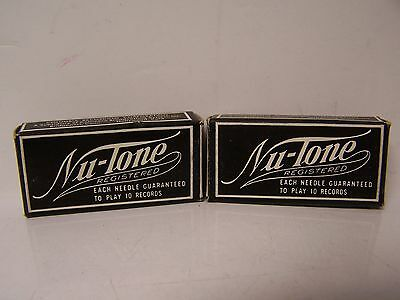 2 NOS 50 CT. BOXES Nu-Tone PHONOGRAPH RECORD NEEDLES BRASS PLATED MED- VICTROLA
