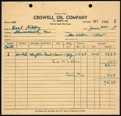 Vintage receipt CRISWELL OIL COMPANY dated 1948 St Joseph Missouri excellent++