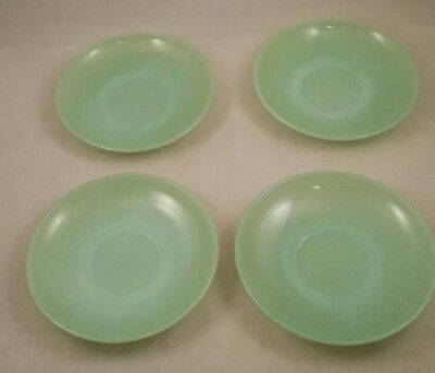 "Vintage Fire King Oven Ware Jadeite Glass 6"" Saucers Set of 4"