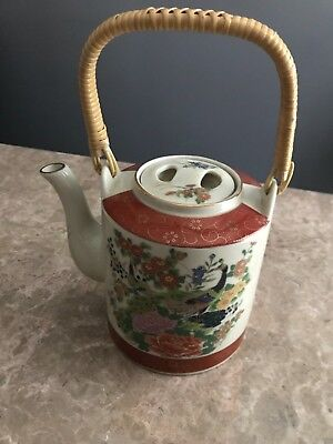 Vintage Japanese Satsuma Tea Pot Flowers And Peacocks Signed
