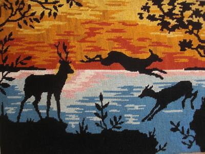 """VINTAGE completed cotton needlepoint deer in the sunset tapestry 19.7""""x14"""""""