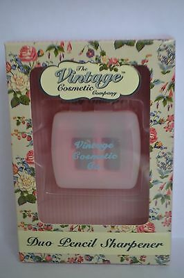 BNIB The Vintage Cosmetic Company Duo pencil sharpener dotted pink RRP £4.95