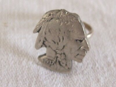 F10 Vintage Artisan Indian Head Nickel Ring Silver Tone Size 5 Silhouette