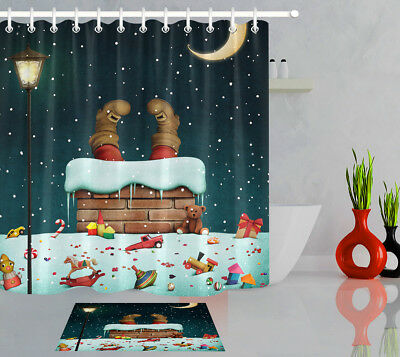"Christmas Gifts Moon Bear Candy Cane Snow 71X71"" Bathroom Fabric Shower Curtain"