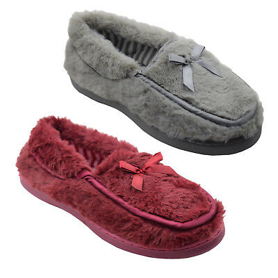 Ladies Womens Luxury Full Moccasin Slip On Warm Comfy Slippers Sizes 3,4,5,6,7,8