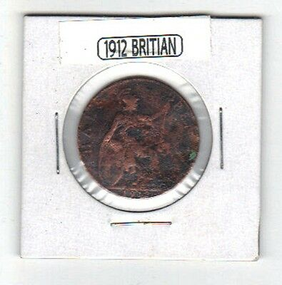 A 1912 British Half Pence Very Old & Very Worn !!!!!    105 Years Old!!!!
