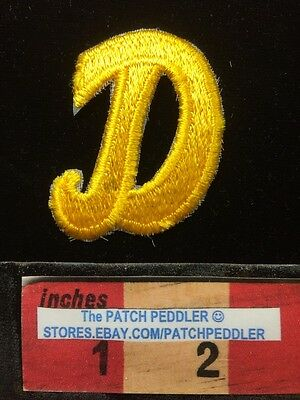 "LETTERS ~ Yellow Script 2"" Letter ""D"" Patch Embroidered Appliqué Initial 62E2"