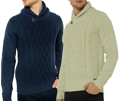 9d96e885f1f Mens Threadbare Shawl Collar Jumper Cable Knit Sweater Top Pullover Button  PERTH