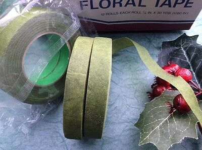 """12 """"green Florist Tapes"""" Sticky Stretchy Corsage-Bouquets-Stems, Flowers, Crafts"""