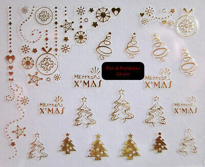 Adesivi per unghie NATALE nail art CHRISTMAS NOEL GOLD stickers ORO o ARGENTO