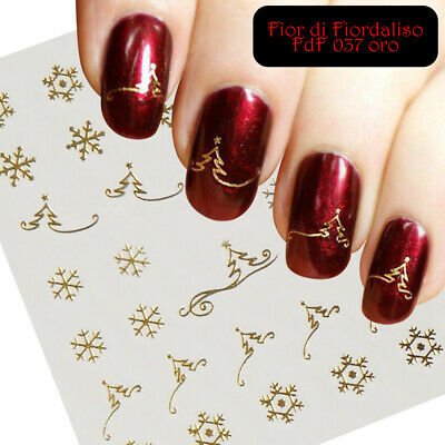 NATALE CHRISTMAS TREE adesivi unghie Stickers nail art GOLD SILVER water decals