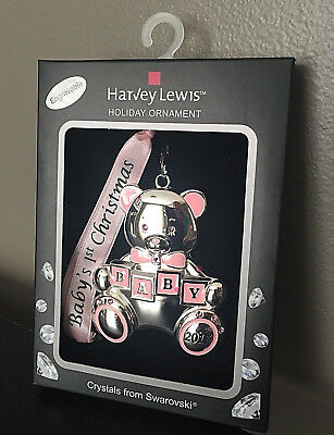 Baby's First Christmas Ornament Harvey Lewis Girl Sliver Pink Bear 2017 New!