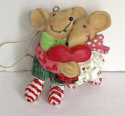 "Christmas Mice Hugging heart Ornament 2"" X 2"""