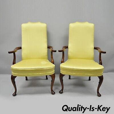 Pair of Southwood Queen Anne Style Mahogany Library Armchairs Living Room Chairs